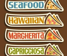 Pizza sticker banner vector 01