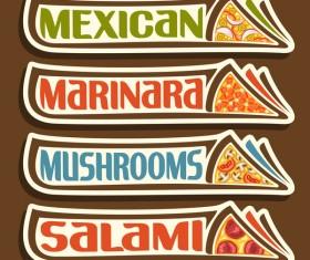 Pizza sticker banner vector 02