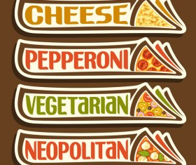 Pizza sticker banner vector 03