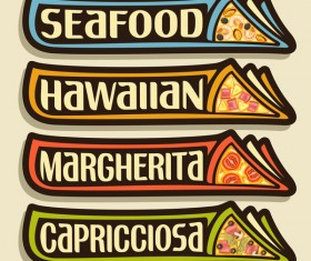 Pizza sticker banner vector 04