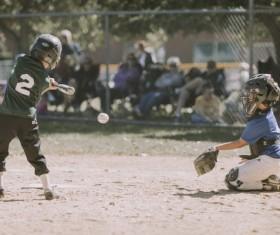 Primary school baseball game Stock Photo