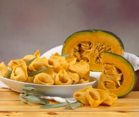 Pumpkin stuffing pasta Stock Photo