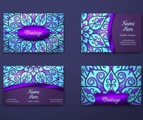 Purple decorative pattern business card vector 01