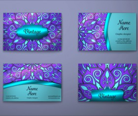 Purple decorative pattern business card vector 02