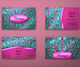 Purple decorative pattern business card vector 03