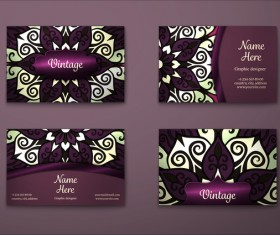 Purple decorative pattern business card vector 04