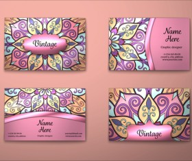 Purple decorative pattern business card vector 05