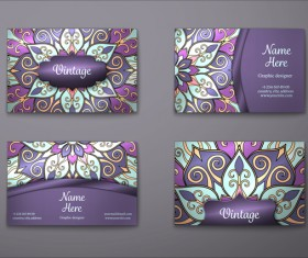 Purple decorative pattern business card vector 06