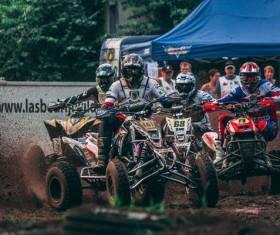 Quad bike motocross race Stock Photo