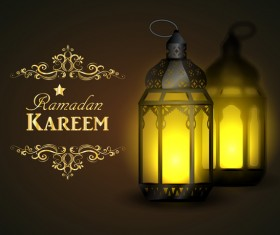 Ramadan Kareem background with arabic lamps vector 01