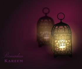 Ramadan Kareem background with arabic lamps vector 02