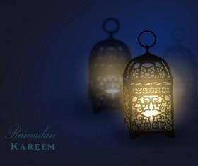 Ramadan Kareem background with arabic lamps vector 03