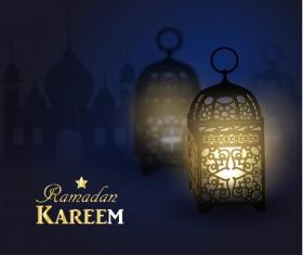 Ramadan Kareem background with arabic lamps vector 04