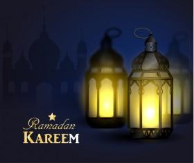 Ramadan Kareem background with arabic lamps vector 05