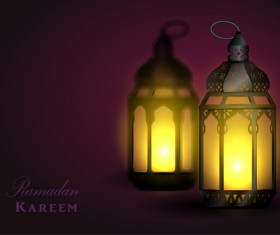 Ramadan Kareem background with arabic lamps vector 06