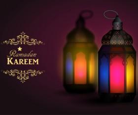 Ramadan Kareem background with arabic lamps vector 07