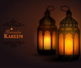 Ramadan Kareem background with arabic lamps vector 08
