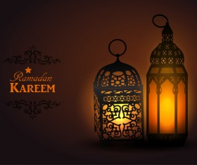 Ramadan Kareem background with arabic lamps vector 09