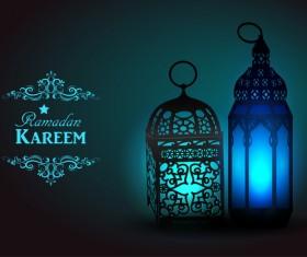 Ramadan Kareem background with arabic lamps vector 10