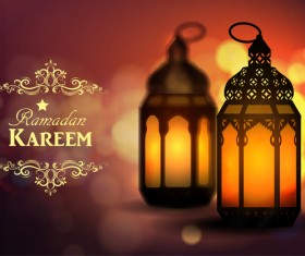 Ramadan Kareem background with arabic lamps vector 11