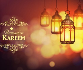Ramadan Kareem background with arabic lamps vector 12