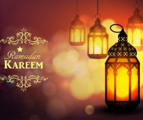 Ramadan Kareem background with arabic lamps vector 13