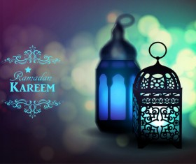 Ramadan Kareem background with arabic lamps vector 15