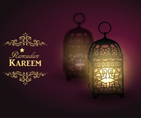 Ramadan Kareem background with arabic lamps vector 16