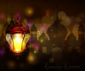 Ramadan Kareem background with arabic lamps vector 17
