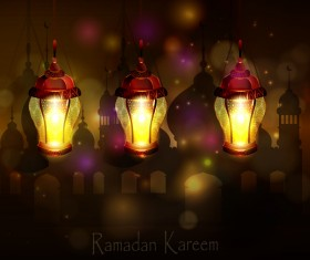 Ramadan Kareem background with arabic lamps vector 18