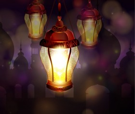 Ramadan Kareem background with arabic lamps vector 19
