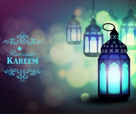 Ramadan Kareem background with arabic lamps vector 20