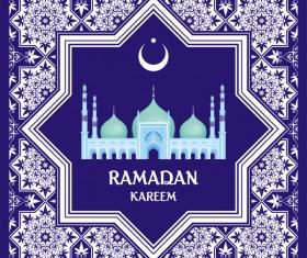 Ramadan greeting card blue vector 01