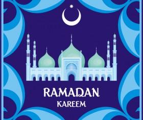 Ramadan greeting card blue vector 02