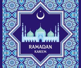 Ramadan greeting card blue vector 03
