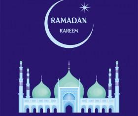 Ramadan greeting card blue vector 04