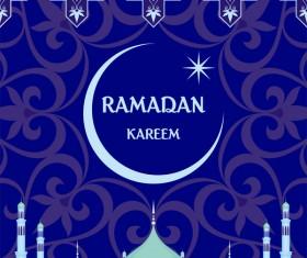 Ramadan greeting card blue vector 05