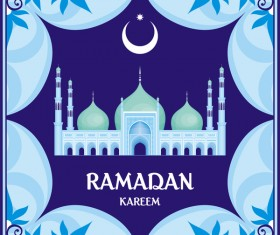Ramadan greeting card blue vector 06
