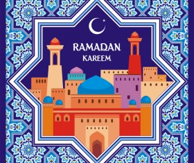 Ramadan greeting card blue vector 07