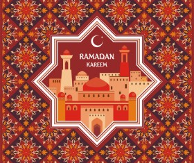 Ramadan greeting card brown vector 01