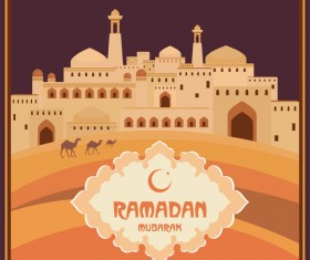 Ramadan greeting card brown vector 02