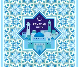 Ramadan greeting card cyan vector