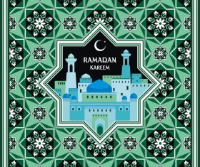 Ramadan greeting card green vector