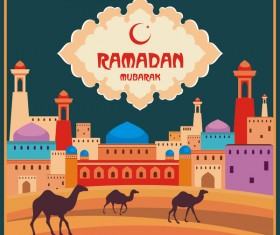 Ramadan greeting card multicolor vector