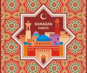Ramadan greeting card red vector 01
