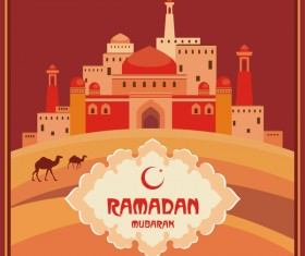 Ramadan greeting card red vector 02
