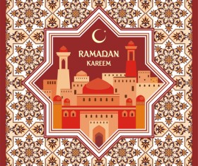 Ramadan greeting card terracotta vector 01