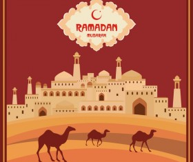 Ramadan greeting card terracotta vector 02