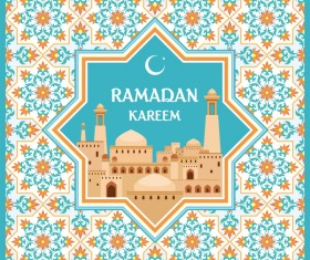 Ramadan greeting card turquoise vector
