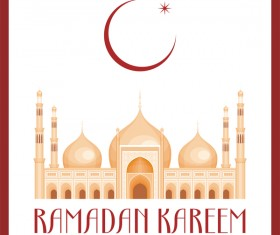 Ramadan greeting card white vector